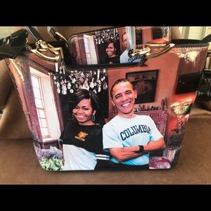 Combo Michelle & Barak Obama purse with wallet